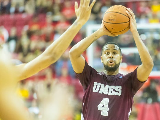 UMES guard Devin Martin (4) looks to pass against Maryland