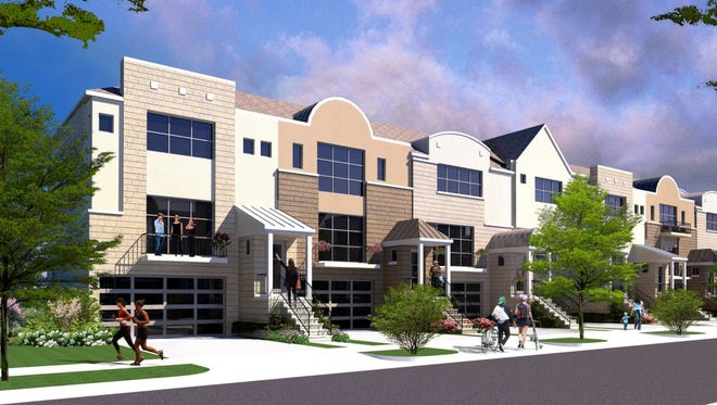 Rendering of the Village at Northville mixed use Planned Unit Development at 5 Mile and Beck in Northville Township. From Pinnacle Homes, the 78 unit townhomes.