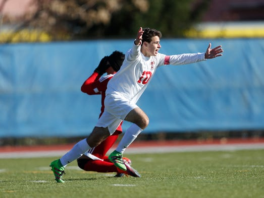 Somers' Jack Maher (10) celebrates after scoring the