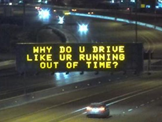 "ADOT raises the curtain on ""Hamilton"" freeway signs."