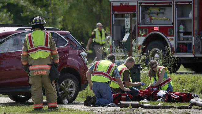 A two-vehicle crash at the intersection of Julius Dr. and Spring Rd. on August 5, 2014, in Greenville.