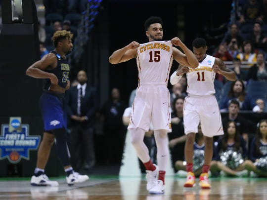 Iowa State's Nazareth Mitrou-Long celebrates after