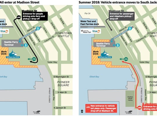 The driver entrance for Colman Dock will shift a few blocks south this summer to South Jackson Street.