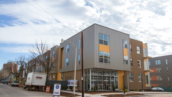 One of four buildings is nearly complete at Stitchweld apartments in Bay View.