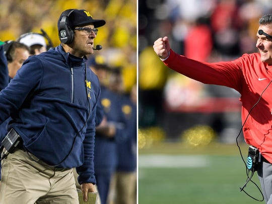Michigan coach Jim Harbaugh (left photo) and Ohio State coach Urban Meyer. (AP Photo/File)