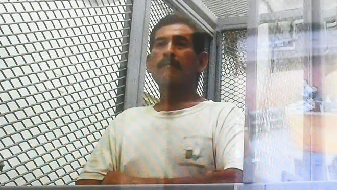 John Ogo, 56, during his magistrate hearing via closed-circuit video, at the Superior Court of Guam on June 15, 2018. Ogo was charged with terroristic conduct and terrorizing as third-degree felonies and false alarms as a misdemeanor with special allegations of crimes against the community, after allegedly making a shooting threat to 911 earlier in the week.