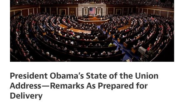 The White House published the State of the Union Address in advance for the first time, via the web site Medium.