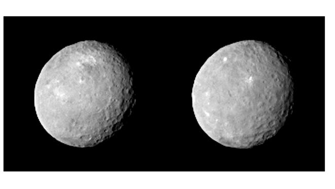 These two views of Ceres were acquired by NASA's Dawn spacecraft on Feb. 12, 2015, from a distance of about 52,000 miles as the dwarf planet rotated.