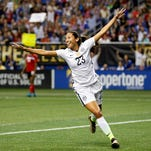 U.S. forward Christen Press (23) celebrates after scoring a goal during the second half at Alamodome on Dec. 10, 2015.