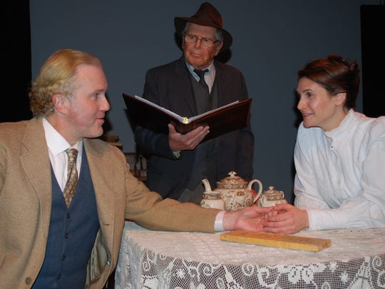 """The Schoolhouse Theater presents """"The Gift of the Magi"""",  with Timothy Carter (left) as Jim, Carey Van Driest (right) as Della, and Len Gochman (standing) as the narrator.  For tickets, go to www.schoolhousetheater.org or call 914-277-8477."""