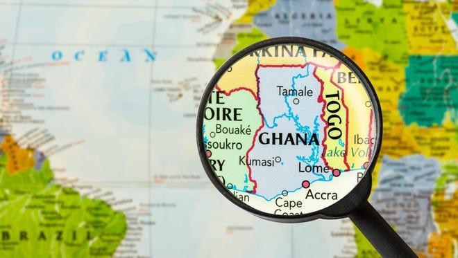 Map of Republic of Ghana