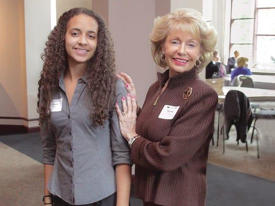 Resch with Riseel Peguero (left), the first Sharon