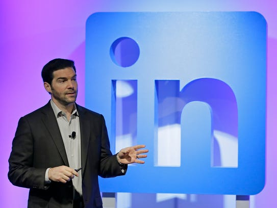 LinkedIn CEO Jeff Weiner speaks during a product announcement at his company's headquarters in San Francisco in September 2016.