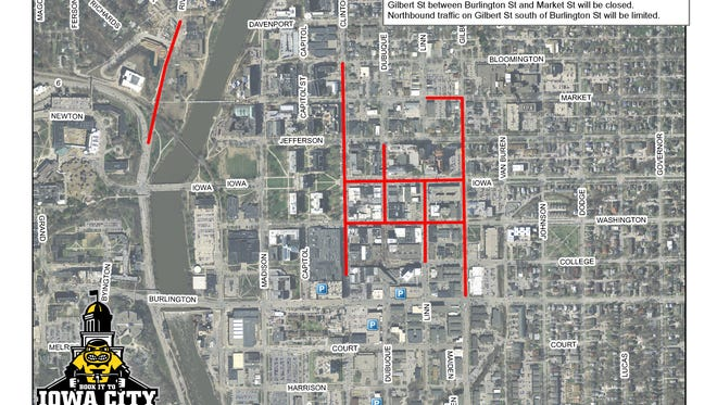 The road closures for Friday in Iowa City due to RAGBRAI.