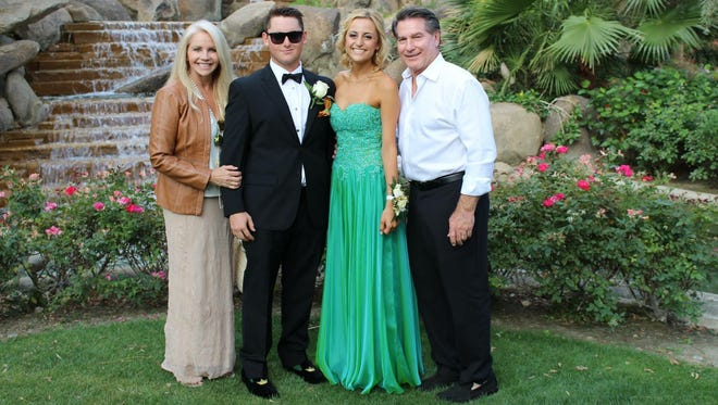Palm Desert senior Sean Garvey, second from left, with girlfriend Shannon Coyne, and Garvey's parents Steve and Candace before the pair's junior prom in 2016.