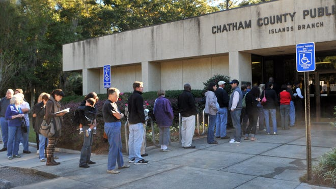 Early voting Friday at the Islands Library.