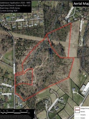Aerial imagery of the 29-lot subdivision proposed in the Dana Community.