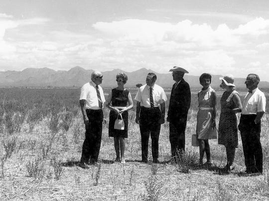 Community leaders gathered in the late 1960s for the groundbreaking of Scottsdale Community College on Chaparral Road. The new campus opened in 1970.
