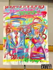 This is a painting created by Smashed Label, brothers Corei and Crae Washington. Smashed Label has been selected as one of the artists selected by the Wilmington Creative District to create a mural along the 7th Street Arts Bridge.