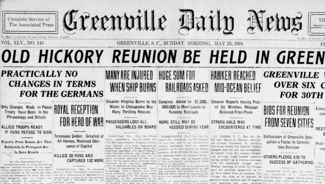 The front page of the Greenville Daily News on May 25, 1919.