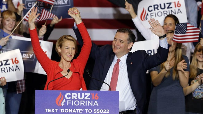 Carly Fiorina and Ted Cruz campaign in Indianapolis on April 27, 2016.