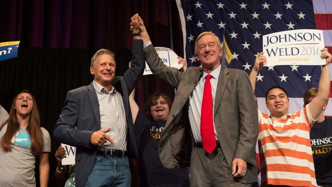 Libertarian candidates Gary Johnson and William Weld at a rally, New York City, Sept. 10, 2016.