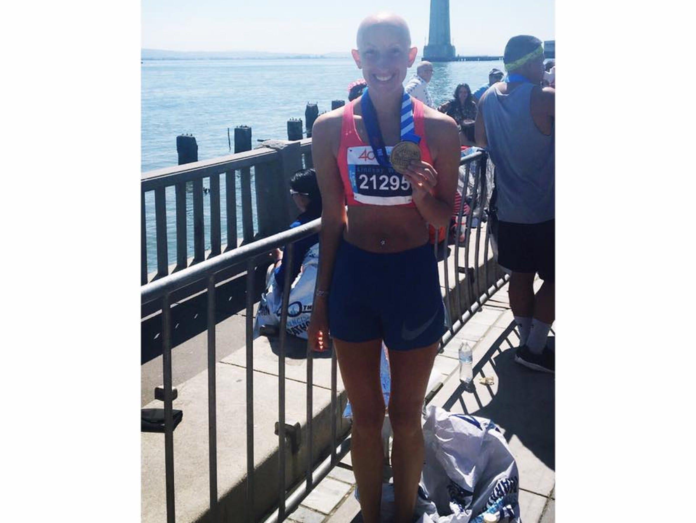 After completing the San Francisco Marathon, Lindsay