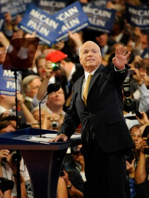 Presidential nominee John McCain at the Republican National Convention in 2008.