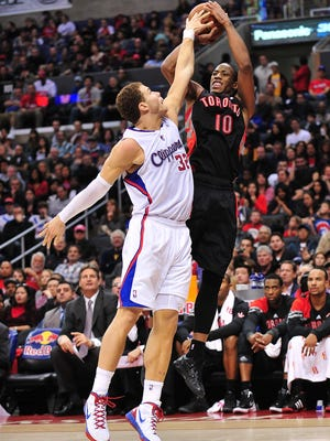 Los Angeles Clippers power forward Blake Griffin (32) blocks a shot against Toronto Raptors shooting guard DeMar DeRozan (10) during a recent game.