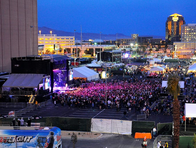 The main stage glows at the ACM Party For A Cause. Friday April 4, 2014, in Las Vegas, NV.