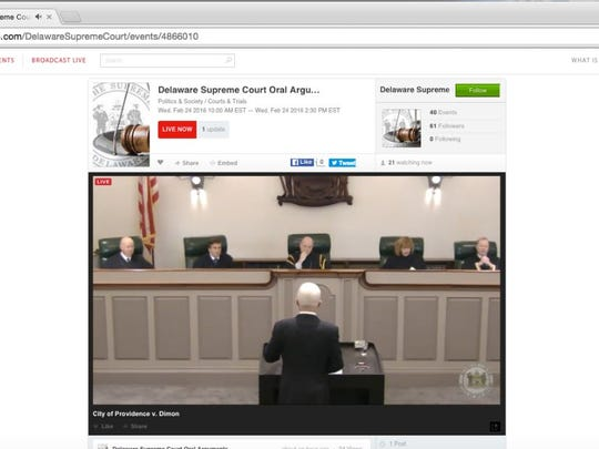 A screenshot of the Delaware Supreme Court hearing arguments. The court began livestreaming arguments Wednesday.
