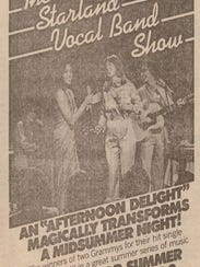 Newspaper ad for The Starland Vocal Band Show.