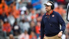 Auburn head coach Gus Malzahn looks on during the Auburn