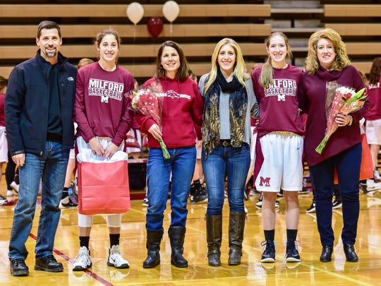 Milford senior basketball players Mallory Barrett and Natalie Killingbeck were honored in the pre-game.
