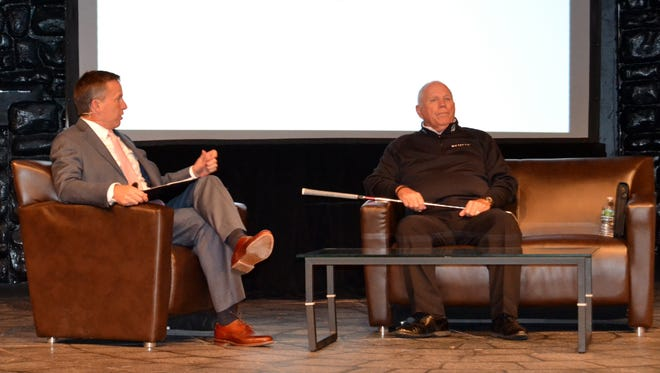 Butch Harmon, right, talks with Golf Channel instructor Michael Breed on Tuesday, April 12, 2016, during the Metropolitan PGA Educational Forum at Westchester Broadway Theater.
