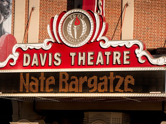 The Davis Theatre's marquee announced comedian Nate Bargatze's appearance for the Montgomery Rotary Club's FunnyRaiser for local charities (Contributed)