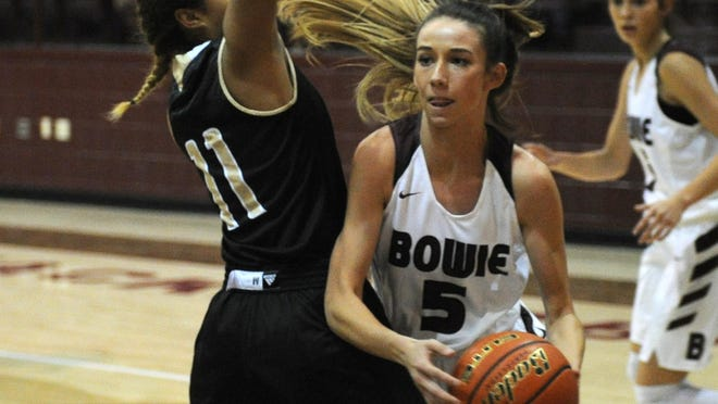 Bowie's Kamryn Cantwell passes around Rider's Tori Williamson Tuesday, Nov. 22, 2016, in Bowie.