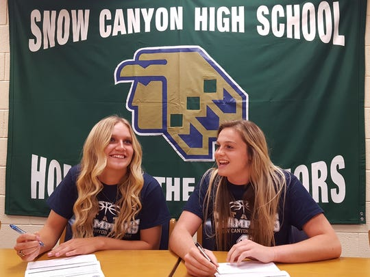 Snow Canyon's Shaylee Reed (left) and Mada Mooring
