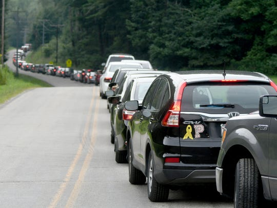 Bunker Hill Road was backed up Friday morning as visitors