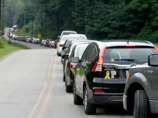 Bunker Hill Road was backed up Friday morning as visitors waited to get to Ohio Dreams for the EST Festival 2017.