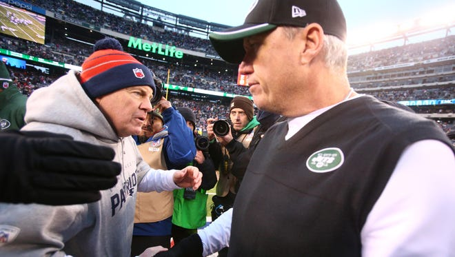 """Rex Ryan, at rigjh, on Patriots coach Bill Belichick:  """"I admire Belichick for the way he is and the way he controls that organization. It's clearly driven through him. ... For him to be somebody else, for him to come out and be like somebody else would be a mistake. Same thing for me. This is who I am. It's different or whatever, and I get it. I don't have the four Super Bowl rings, but neither does anybody else."""""""