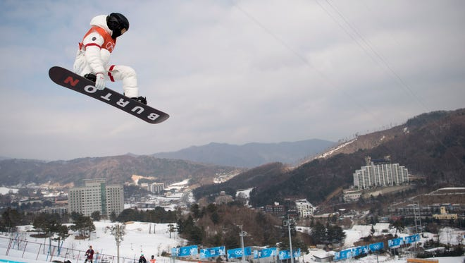 February 8, 2018: Shaun White (USA) practices during the snowboard halfpipe training session during the Pyeongchang 2018 Olympic Winter Games at Phoenix Snow Park.