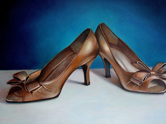 """Fancy Shoes"" by Corktown Studios artist Amy Fell. The Corktown artists are being featured in an exhibit at West Bloomfield's Janice Charach Gallery."