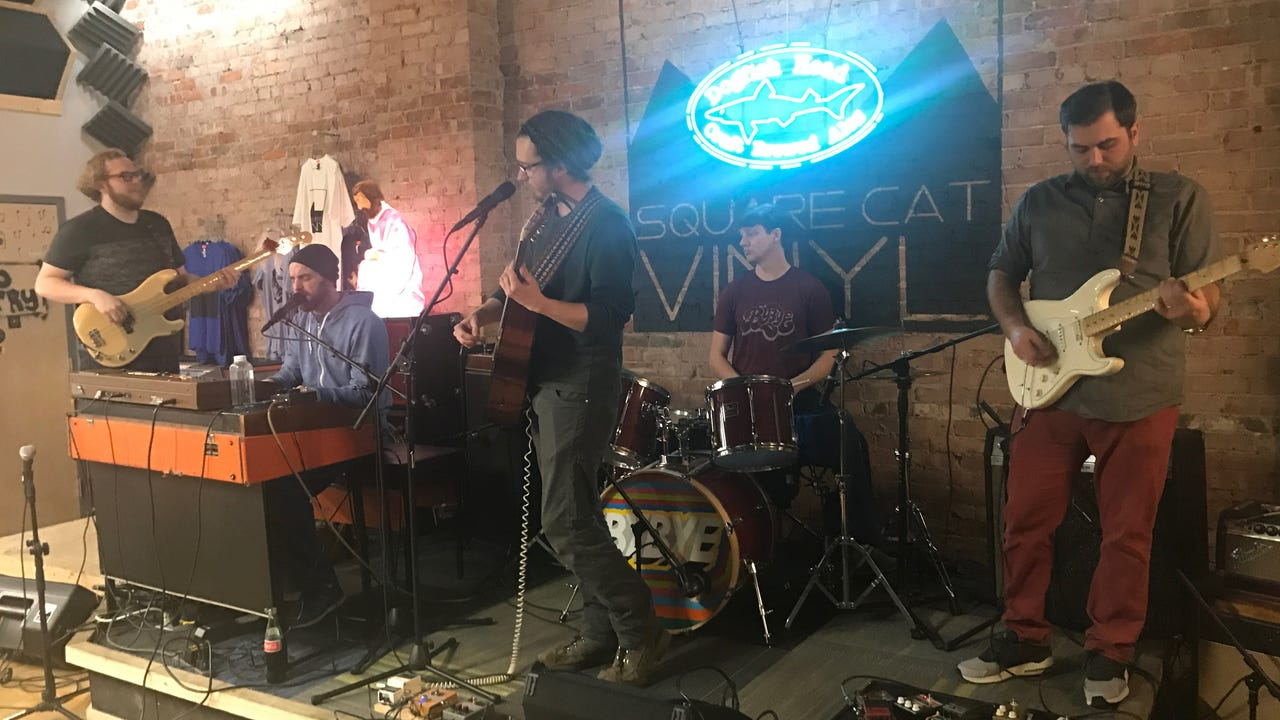 """Bybye performs """"Happily"""" on the Feb. 20, 2018, episode of """"Dogfish Head Brewery presents IndyStar Sessions at Square Cat Vinyl."""""""