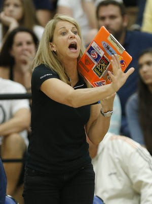 Desert Vista girls volleyball coach Molly West during the 2014 Division I state championship.