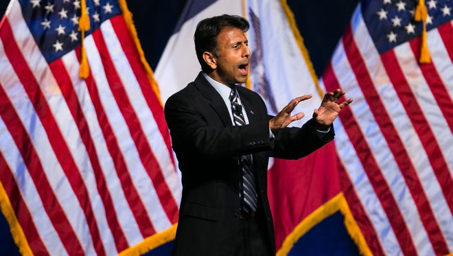 Republican presidential candidate Bobby Jindal speaks during September's Faith and Freedom Coalition Dinner at the Iowa State Fairgrounds in Des Moines.