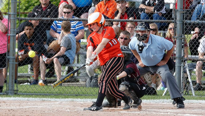Oakfield's MiKayla Newton hits a pitch during the Oaks' WIAA Division 4 sectional final against Green Bay N.E.W. Lutheran.