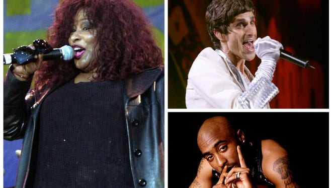 Clockwise, from left: Chaka Khan, Jane Addiction's Perry Farrell and Tupac Shakur.