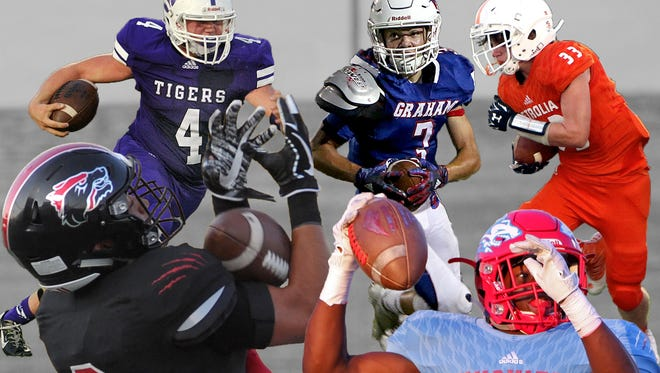 Week 2 Illustration of the TRN Sports Player of the Week nominees of Jacksboro's Caleb Keith, Graham's Cameron Parker, Petrolia's Dayton Romines, Wichita Falls High School's Jordan Hatton and Hirschi's Daimarqua Foster.