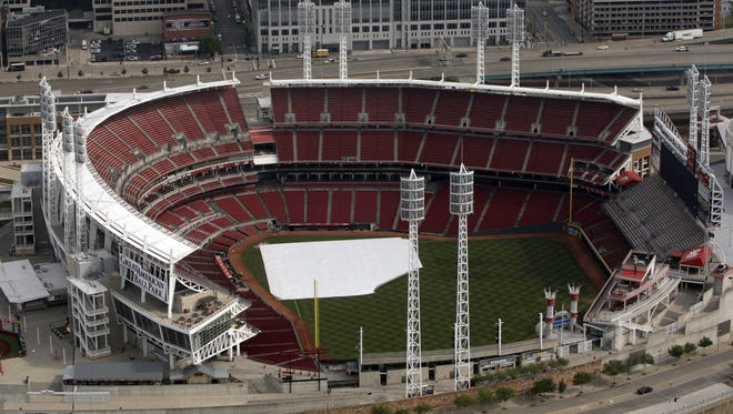 An aerial view of the Great American Ball Park.